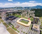 Blick auf die Allmend mit dem Hallenbad, den beiden Wohntürmen, dem Stadion, der Leichtathletik-Anlage sowie dem Messegebäude (von rechts). (Bild Philipp Schmidli)