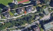 Die städtische Liegenschaft nahe der Museggmauer (oben) mit der Adresse Auf Musegg 1. (Bild: Screenshot Google Earth)