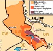 Die heutige Aufteilung von Jagdbann-, Intensivnutzungs- und Landschaftsschutzgebiet rund um den Titlis. (Bild: Janina Noser)