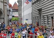 Tausende Kinder nahmen an der 39. Ausgabe des Luzerner Stadtlaufs teil. (Bild: Andy Mettler (swiss-image.ch))
