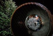 Rebecca Diethelm aus Sattel verkauft Christbäume auf dem Bundesplatz. (Bild: Stefan Kaiser (Zug, 19. Dezember 2017))