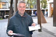 Thomas Nadler ergatterte als erster ein Ticket der «Hosen».. (Bild: Kilian Küttel (Luzern, 20. Oktober 2017))