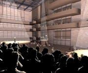 Ob die Vision der Salle Modulable je in die Realität umgesetzt wird, ist noch völlig offen. (Bild: Visualisierung PD)