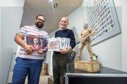 «Schlussgang»-Verleger Beat Reichenbach (rechts) und Redaktionsleiter Manuel Röösli in ihrer Redaktion an der Hirschmattstrasse in Luzern. (Bild Dominik Wunderli)