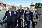 Die neue Luzerner Regierung (von links): Robert Küng (FDP), Marcel Schwerzmann (parteilos), Reto Wyss, Guido Graf (beide CVP) und Paul Winiker (SVP). (Bild Nadia Schärli)