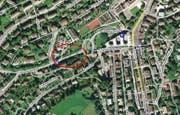 Der Unfall ereignete sich auf der Friedentalstrasse Richtung Valasterkreisel. (Bild mapsearch.ch)