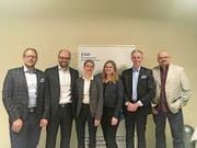 Die Kandidaten der FDP Cham (von links): Thomas Gander, Arno Grüter, Petra Muheim Quick, Jill Nussbaumer, Thomas Sägesser und Tao Gutekunst. (Bild: Andrea Muff (Cham, 1. März 2018))