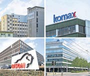 Grosse Firmen sind für die Steuerkassen der Gemeinden zentral: Monosuisse in Emmenbrücke und Komax in Dierikon (oben), Bison in Sursee und CSS in Luzern (unten). (Bilder Neue LZ)