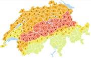 Die Gefahrenkarte des Bundes macht es deutlich: In der Zentralschweiz besteht Gefahrenstufe 4, das bedeutet «grosse Gefahr». (Bild: meteoschweiz.admin.ch)