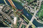 Die Unfallstelle bei der Reussport-Tunnel-Einfahrt. (Karte mapsearch.ch)
