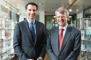 Peter Wuffli (rechts) und sein designierter Nachfolger Steffen Meister (links). (Bild: Lukas Schnurrenberger)