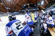 Das Schweizer Team während des Spengler-Cup-Finals. (Bild: KEYSTONE/Melanie Duchene)