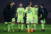 Aarau's players reacts after losing against Servette, during the Challenge League soccer match of Swiss Championship between Servette FC and FC Aarau, at the Stade de Geneve stadium, in Geneva, Switzerland, Saturday, February 24, 2018. (KEYSTONE/Salvatore Di Nolfi) (Bild: Salvatore Di Nolfi / Keystone (Genf, 24. Februar 2018))