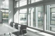 Die Visualisierung zeigt eine Innenansicht mit Aussicht in den Innenhof des U-förmigen Gebäudes. (Bild PD/WWZ AG)