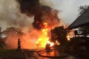 Beim Brand in Eich wurde laut Polizei niemand verletzt. (Bild: pd)