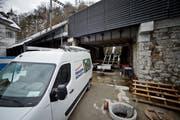 Erste Bauarbeiten bei der Gütsch-Bahn am 2. Februar. (Bild: Neue LZ)