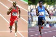 Der Jamaikaner Asafa Powell (links) verbesserte dreimal den Weltrekord. Sein Landsmann Yohan Blake Zweitschnellster Mann aller Zeiten. (Bild: Keystone)