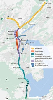 Bypass Luzern: Geplant ist ein neuer Tunnel sowie der Ausbau der Autobahn auf drei Spuren. (Bild: Kanton Luzern)