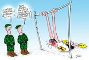 """""Beim letzten Mal hat er noch 54 geschafft."""" (Karikatur Jals/Neue LZ)"