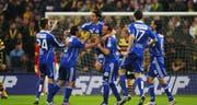 Die Luzerner jubeln über den 1:0-Treffer von Ferreira (Bild Philipp Schmidli/Neue LZ)