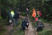 Helfer der Landjugend Pilatus bauen einen Weg aus «Holzprügeln». (Bild: Pro Pilatus / Alois Häcki)