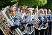 Die Brass Band Schötz am 26. Juni 2011 am Eidgenössischen Musikfest in St. Gallen. (Bild Philipp Schmidli)