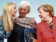Ivanka Trump, Christine Lagarde und Angela Merkel (v. l. n. r.). (Bild: Carsten Koall/EPA (Berlin, 25. April 2017))