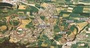 Mögliche «Villenzonen» der Gemeinde Adligenswil. (Grafik Oliver Marx/Neue LZ)