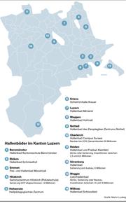 Das sind die aktuellen Hallenbäder im Kanton Luzern. (Bild: Grafik: Martin Ludwig)