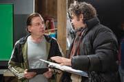 Beat Schlatter und Peter Luisi während der Dreharbeiten zu «Flitzer». (Bild: Keystone)