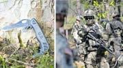 Links das brünierte Mehrzweckmesser «KnifeCombatUtility», rechts eine Einheit der US-Armee anlässlich einer Übung. (Bilder: Jakob Ineichen, GerryBroome/AP)