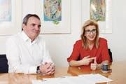 TC-Zug-Präsident Arno Baumeler und Juniorenobfrau Barbara Hotz. (Bild: Stefan Kaiser (Zug, 29. Januar 2018))