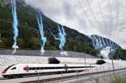 Der erste Zug fährt in Erstfeld aus dem Gotthard-Basistunnel. (Bild: Keystone / Gaetan Bally)
