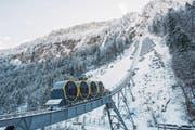 Die steilste Standseilbahn der Welt, die Stoosbahn, wurde von Garaventa erbaut. (Bild: Urs Flüeler/Keystone (Stoos, 15. Dezember 2017))