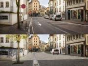 Südliche Burgerstrasse mit Philipp-Anton-von-Segesser-Platz vor und nach der Sanierung der Oberfläche. (Bild: Visualisierung: Studio 12 GmbH)