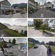 Flächendeckend auf dem Kartendienst von Google (von oben links im Uhrzeigersinn): Stans, Sursee, Sarnen, Zugerberg, Rathausenbrücke in Emmen und Seelisberg. (Bilder: Google Street View)