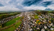 Blick auf die Gemeinde Ebikon. (Bild: Luftaufnahme PD)