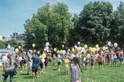 Zahlreiche Kinder feierten vor einigen Wochen die Eröffnung der Ferienpass-Saison im Schulhaus Maihof. (Bild: PD Stadt Luzern (17. Juli 2017))