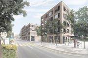 So soll es im Hünenberger Dorfkern dereinst aussehen: Im Vordergrund ist das Gebäude mit den Alterswohnungen zu sehen, im Hintergrund der Grossverteiler. (Bild: Visualisierung PD)