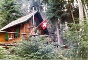 Oben: Albert Koch senior (rotes Hemd) vor dem Haus Rigiblick. Unten rechts: Albert Koch (wieder im roten Hemd) 1971 mit Gästen in der Waldhütte. Unten links: Ein Bagger reisst das Haus am 17. Mai 2016 ab. (Bilder PD/Pius Amrein)