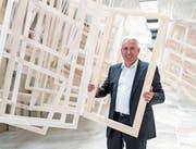 4B-Geschäftsführer Bernhard Merki in der Malerei am Hauptsitz in Hochdorf. (Bild: Philipp Schmidli (Hochdorf, 20. Juni 2017))