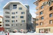 So sollen die zwei neuen Apartmenthäuser aussehen. Links das Haus Edelweiss und rechts das Haus Wolf. (Bild: PD)