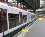 Die Unfallstelle auf dem Gleis 10 mit der S-Bahn (links) und dem Messzug (hinten). (Bild: Sust (Luzern, 11. Juli 2016))