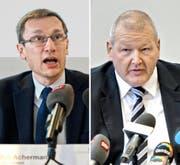 Kommandant Adi Achermann (links) und Kripo-Chef Daniel Bussmann. (Bild: Pius Amrein/Eveline Beerkircher)