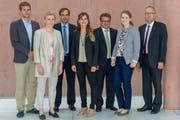 Sie wollen nach Bern: Christoph Iten, Monika Barmet-Schelbert, Gerhard Pfister (er ist schon dort), Corina Kremmel, Andreas Hausheer, Anna Bieri und Peter Hegglin. (Bild: PD)