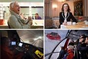 Sorgten für Schlagzeilen im Jahr 2015: Emil Steinberger (mit 82 nochmals auf Tournee), Monopol-Direktorin Brigitte Heller (die nicht länger zusieht, wie Touristen halb volle Teller stehen lassen), die neue Luftseilbahn auf den Pilatus und Testfahrten mit 200 km/h im Gotthard-Tunnel. (von oben links im Uhrzeigersinn). (Bilder Keystone / Neue LZ)
