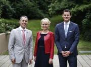 Die drei Bundesratskandidaten der FDP: Ignazio Cassis, Isabelle Moret und Pierre Maudet (von links). (Bild: Stefan Kaiser (Zug, 21. August 2017))