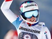 Michelle Gisin freut sich über Platz 2 in der Kombination (Bild: KEYSTONE/AP/GABRIELE FACCIOTTI)