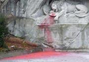 Das maltärtierte Löwendenkmal. (Bild Stapo Luzern)
