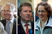 Sie treten im zweiten Wahlgang an: Paul Winiker (SVP), Marcel Schwerzmann (parteilos) und Felicitas Zopfi (SP). (Bilder Corinne Glanzmann)